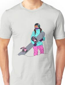 Snowboarder girl in mountain Unisex T-Shirt