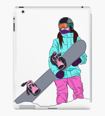 Snowboarder girl in mountain iPad Case/Skin