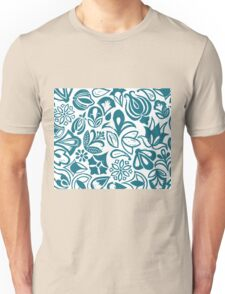 BLUE GARDEN, Blue floral folksy pattern, Lino cut printed nature inspired hand printed pattern Unisex T-Shirt