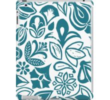 BLUE GARDEN, Blue floral folksy pattern, Lino cut printed nature inspired hand printed pattern iPad Case/Skin