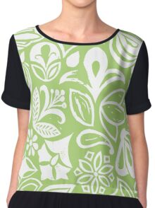 GREEN GARDEN, floral folksy pattern, Lino cut printed nature inspired hand printed pattern Chiffon Top