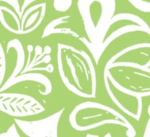 GREEN GARDEN, floral folksy pattern, Lino cut printed nature inspired hand printed pattern Sticker