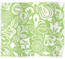 GREEN GARDEN, floral folksy pattern, Lino cut printed nature inspired hand printed pattern Poster