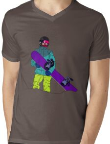 Snowboarder man with snowboard Mens V-Neck T-Shirt