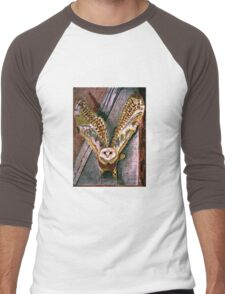 Ghost Owl  in flight colored pencils drawing Men's Baseball ¾ T-Shirt