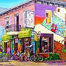 OUTDOOR CAFE CHEZ JOSE MONTREAL SUMMER STREET SCENE by Carole  Spandau