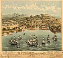 Vintage Pictorial Map of San Francisco (1884)  by BravuraMedia