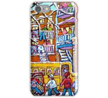 TEDDY BEAR DAYCARE MONTREAL WINTER STREET SCENE WITH HOCKEY iPhone Case/Skin