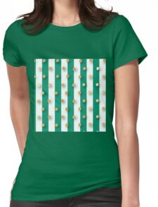 random gold polka dots, green,white,vertical stripes, modern,trendy,christmas pattern, merry bright Womens Fitted T-Shirt