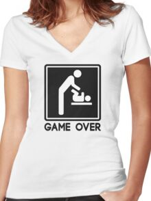 Game Over New Baby for Parent Dad Women's Fitted V-Neck T-Shirt