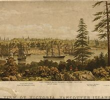 Vintage Pictorial Map of Victoria Vancouver (1860) by BravuraMedia