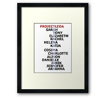 Orphan Black actress and character names (Season Two Spoilers) Framed Print