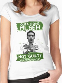 Out A Road #FREEWORLBOSS GREEN Women's Fitted Scoop T-Shirt