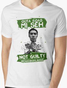 Out A Road #FREEWORLBOSS GREEN Mens V-Neck T-Shirt