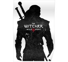 Geralt with Witcher Logo Poster