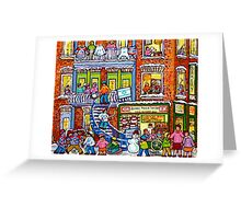 MONTREAL BAKERY WITH GREEN DOORS MONTREAL WINTER STAIRCASE SCENE Greeting Card