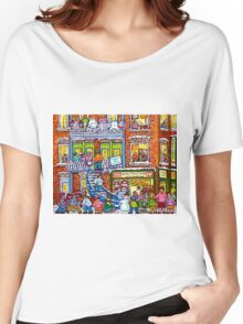 MONTREAL BAKERY WITH GREEN DOORS MONTREAL WINTER STAIRCASE SCENE Women's Relaxed Fit T-Shirt