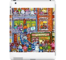 MONTREAL BAKERY WITH GREEN DOORS MONTREAL WINTER STAIRCASE SCENE iPad Case/Skin