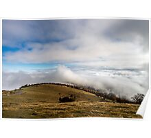 Beautiful landscape overview from the mountain to ocean of clouds, Alsace, France Poster