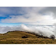 Beautiful landscape overview from the mountain to ocean of clouds, Alsace, France Photographic Print