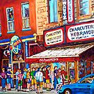 LINE-UP AT CHARCUTERIE SCHWARTZ SUMMER SCENE MONTREAL PAINTING by Carole  Spandau