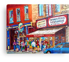 LINE-UP AT CHARCUTERIE SCHWARTZ SUMMER SCENE MONTREAL PAINTING Metal Print