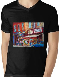 LINE-UP AT CHARCUTERIE SCHWARTZ SUMMER SCENE MONTREAL PAINTING Mens V-Neck T-Shirt