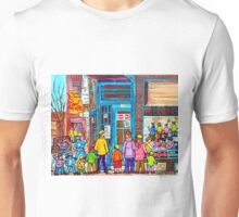 FAMILY DAY AT WILENSKY'S SANDWICH SHOP MONTREAL WINTER STREET SCENE PAINTING Unisex T-Shirt