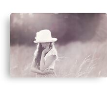 Girl in Hat Canvas Print