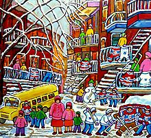 BUSY RESIDENTIAL CITY STREET MONTREAL WINTER SCENE PAINTING by Carole  Spandau