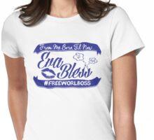 EVA BLESS #FREEWORLBOSS PURPLE Womens Fitted T-Shirt