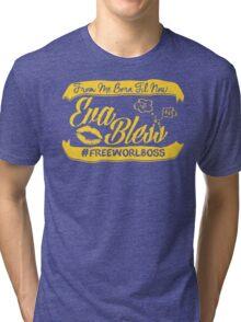 EVA BLESS #FREEWORLBOSS YELLOW Tri-blend T-Shirt
