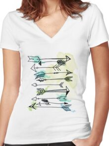 """Courage"" Watercolor Arrow Artwork Women's Fitted V-Neck T-Shirt"
