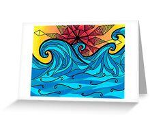 Aztec sun waves Greeting Card