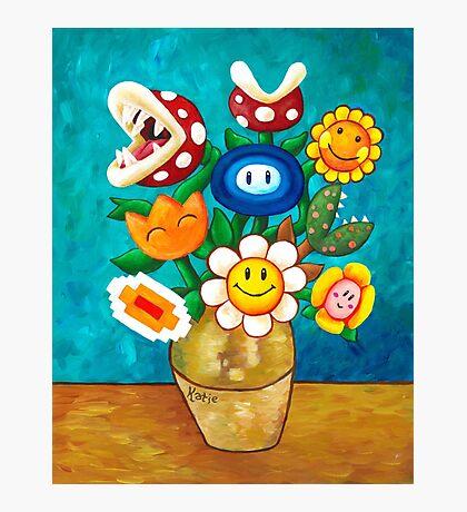 Mario Van Gogh's Flower Vase Photographic Print