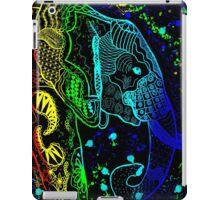 Rainbow Zentangle Elephant with Black Background iPad Case/Skin