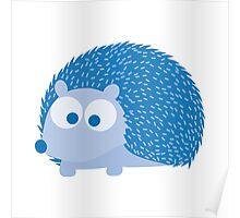 Cute Blue Hedgehog Illustration Poster