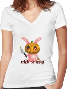 halloween bunny Women's Fitted V-Neck T-Shirt