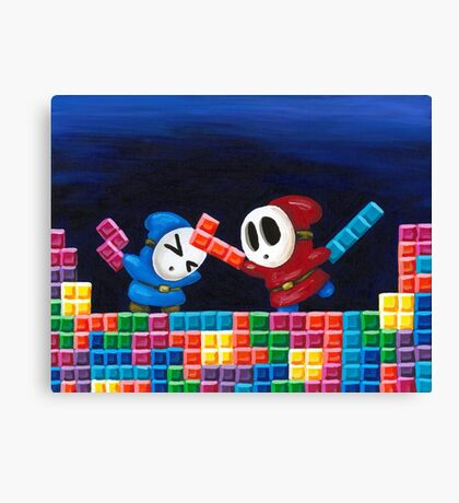 Shy Guys Playing Tetris Canvas Print