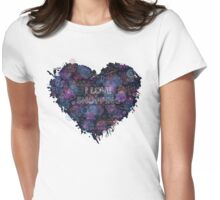 Shopping neon heart Womens Fitted T-Shirt