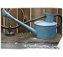 Vintage Watering Can In The Garden Poster