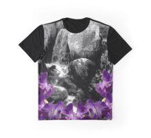 Purple Flowers Waterfall Graphic T-Shirt