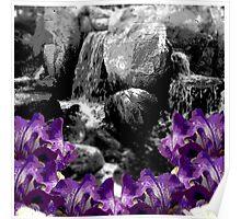 Purple Flowers Waterfall Poster