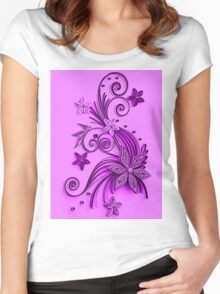 Pink and purple, floral design Women's Fitted Scoop T-Shirt