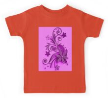 Pink and purple, floral design Kids Tee