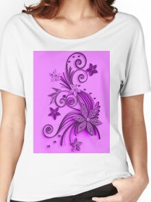 Pink and purple, floral design Women's Relaxed Fit T-Shirt