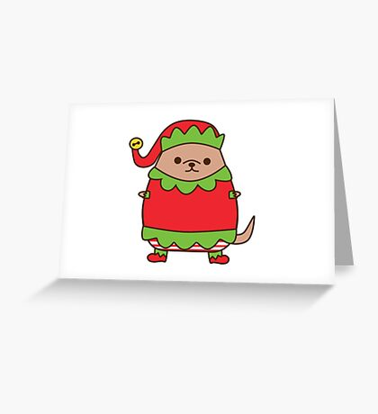 Cute Christmas Elf Pupsheen Greeting Card