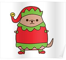 Cute Christmas Elf Pupsheen Poster