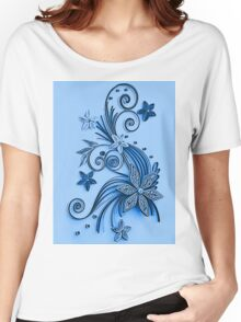 Blue ornament, floral design Women's Relaxed Fit T-Shirt