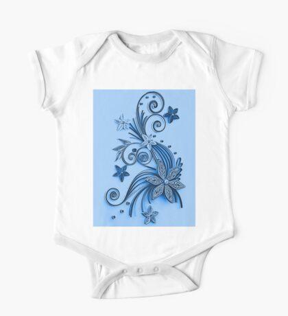 Blue ornament, floral design One Piece - Short Sleeve